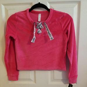 Ideology Big Girls Lace up Velour Sweatshirt